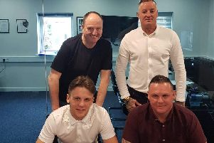 Bailey Donald (front left) with (clockwise from top left) promoter Steve Goodwin, trainer Daron Wiseman and father Adrian Donald