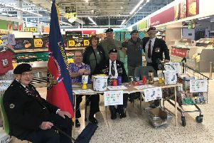 Members of Littlehampton Armed Forces Veterans Breakfast Club collecting at Morrisons Littlehampton