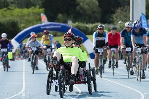 A handcyclist takes part in this year's Tour de Vale