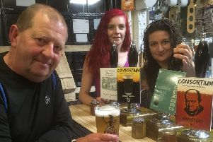 Dave Mann (regular), Amy-Leigh Fraser (bar staff) and Marianne Hewson-Smith (bar staff) at The Consortium in Louth.