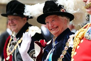 Dame Mary Peters attending the Order of the Garter ceremony at Windsor Castle