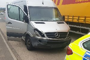 The van was stopped by officers from the Roads Policing team and the Dunstable Community Team. Photo from Central Community Team Twitter Page @CentralBedsCPT