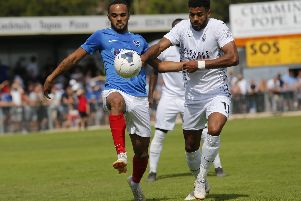 Anton Walkes battles with the Hawks' Jonah Ayunga in Saturday's Westleigh Park clash. Picture: Dave Haines