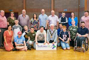 From L to R (Cllr Jonathan Craig, Jacqueline Magill (Chair), Pat Catney MLA, Anne Hayward (Vice Chair), Cllr Tim Mitchell, Cllr James Tinsley, Declan-Lee May, Kelly Maxwell (Autism NI), Owen Dumigan - Bottom L to R (Kerry Body CEO, Anthony May, David Martin, John Bell, Kurtis Dawson, Ben Hayward, Lord Mayor Cllr Alan Givan, Ryan Coates, Jonathan, David McKay, Cllr Jonathan McCarthy)