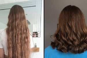 Ella Morgan before and after her charity chop