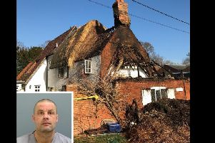 Gentry (inset), and the destroyed cottage