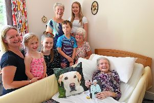Anne Perry celebrated her 100th birthday at Wisteria Lodge, Waterlooville, surrounded by two of her three daughters, grandchildren and great-grandchildren. Picture: Malcolm Wells (190829-7021)