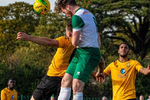 Keaton Wood wins an aerial challenge at East Thurrock / Picture by Tommy McMillan