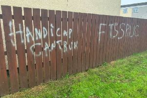 Sickening grafitti daubed on the home of pensioners at Altmore/Ardowen.