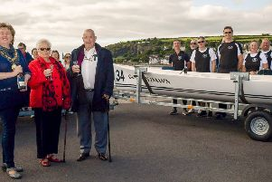 The Mayor, Cllr Maureen Morrow, Jean and John Kelly, former owners of the Golden Dawn caf�, with one of the two new boats.