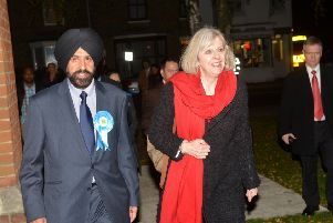 Theresa May visiting Bedford to show support for Jas Parmar in 2012 when he was standing for election as police and crime commissioner