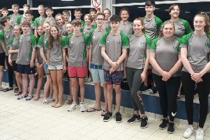 The Berkhamsted Swimming Club team lines up before the Arena League meet in Enfield.