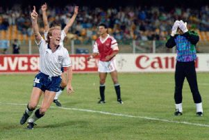 Mark Wright after he scored the decisive goal in England's 1-0 win over Egypt in the 1990 World Cup. The result secured England's place in the knock-out stages of the tournament, where they would eventually be eliminated by Germany in the semi-finals.
