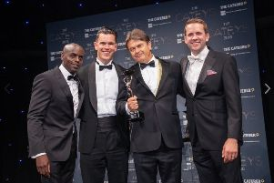Trevor Nelson MBE, Britvic's David Greenaway, Peter Borg-Neal, The Caterer's Editor Chris Gamm
