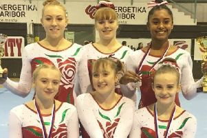 Sapphire Gymnastics' Alyenna Rahim, back row, far right, with her England team-mates at the Salamunov Memorial Cup in Slovenia.