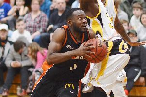 Hemel Storm's dynamic guard Bode Adeluola finds a way through against Thames Valley Cavaliers on Saturday (Picture: Lin Titmuss).