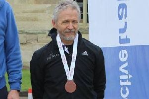 Richard Ruffell on the podium at Ashridge on Saturday.
