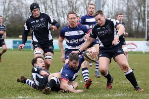 Jack Briggs scores the opening try for Banbury Bulls against Royal Wootton Bassett at the DSC Stadium. Photo: Steve Prouse