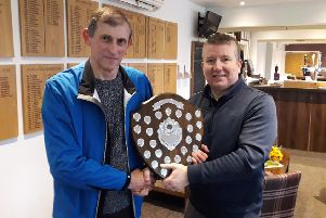 From left, Brian Ridgeway receiving the Alan Irwin Shield 2019 from event organiser Martin Bull at Little Hay Golf Club.