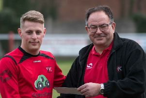 Tring Athletic's recent arrival Jon Clements, left, receiving the club's player of the month award for February from club secretary Bob Winter before Athletic's impressive 4-1 triumph over Stotfold on Saturday.