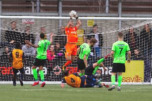 Hemel Town keeper Laurie Walker had a busy afternoon against Bath City on Saturday. (File picture by Marc Keinch).