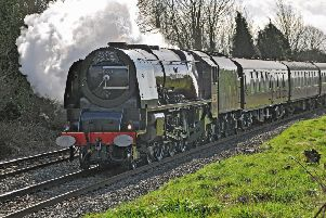 The Duchess of Sutherland steam train passing through Ashwell en route to Melton on Saturday - it was picking up passengers on a journey between York and London'PHOTO PAUL DAVIES EMN-191203-094051001