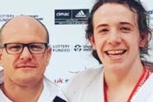 Gold medallist Paddy Lish with coach Laurie Rush in Sheffield.
