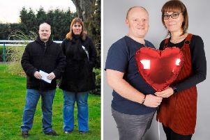 Kate Palmer pictured with her partner Ian before and after she dropped SEVEN dress sizes.