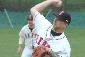Pitcher Dennis Grogan got the win for Herts Falcons in game one over the London Falcons.