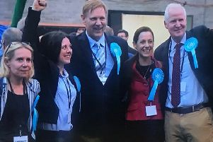 Brexit candidates  for Lincolnshire and the East Midlands celebrating in Kettering. ANL-190527-070402001