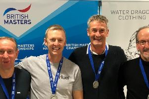 The glory boys, from left, Dave Pirrie. Kevin McKenna. Mark Strakosch and Mike Foskett at the British Masters and senior age-group long-course meet in Swansea, Wales, at the weekend.