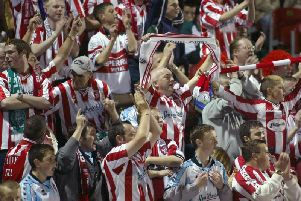 A section of Derry City fans during the 2002 FAI Cup Final.
