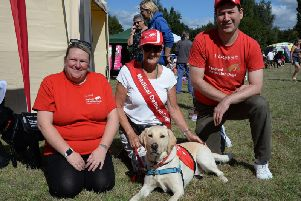 Buckingham Town Council's sixth annual fun dog show and awareness day. Ambassador dog Bruce on the Medical Detection Dogs stand.