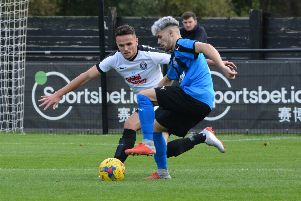 Kings Langley's Kyle Connolly in action against Stourbridge on Saturday. (Picture by Chris Riddell)