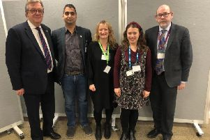 L-R: Tim Hutchings, cabinet member for Public Health and Prevention; Amandip Sidhu, founder of Doctors in Distress; Jacqui Morrissey, assistant director Research & Influencing Samaritans; Michelle Karpus, lived experience representative from HPFT NHS; and Jim McManus, director of Public Health at Hertfordshire County Council