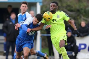 Jordy Mongoy in the thick of the action for Hastings United against Herne Bay last weekend. Picture courtesy Scott White