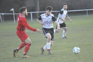 Connor Robertson on the ball during Bexhill United's 4-0 win at home to Worthing United. Picture by Simon Newstead