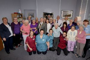 Dignity Day celebration at Grosvenor House Care Home in St Leonards.''Mayor Nigel Sinden is pictured with residents, staff and All Aloud choir. SUS-190402-110345001