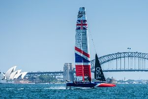 Dylan Fletcher and his Great Britain crew take part in the opening SailGP event in Sydney Harbour. Picture courtesy of SailGP