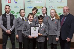Best Recycling School Award, St Richard's Catholic College, Rother, East Sussex. from left, Aaron Atkinson Farmwood, Stuart Smith KM Charity Team.'Green School awards. Ashford International Hotel, Simone Weil Avenue, Ashford, Kent.'Picture Submitted by: Martin Apps'KM Group has permission to sell this image via photo sales and to re-sell the image to other media for single-use publication.