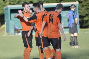 Westfield celebrate their fifth goal in the 5-1 win at home to Worthing Town. Pictures by Simon Newstead