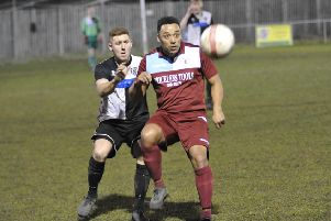 Little Common midfielder Wes Tate lays the ball off during the 1-0 win at home to East Preston. Picture by Simon Newstead
