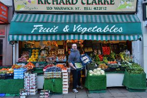 Greengrocer Richard Clarke at his business in Warwick Street, which he is set to close. Photo by Geoff Mayor.