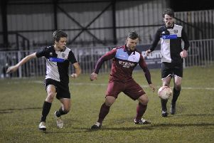 Jamie Crone on the ball during Little Common's 1-0 win at home to East Preston on Tuesday night. Picture by Simon Newstead