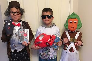 Cyrus as Mr Stink, Levi as Billionaire Boy, and Reggie as an Oompa Loompa, from All Saints School in Bexhill