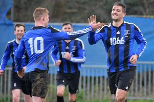 Hollington United will be hoping to celebrate a Sussex Intermediate Challenge Cup final place this afternoon. Picture by Justin Lycett