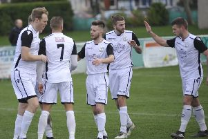 Bexhill United celebrate their opening goal in the 2-1 win at home to Oakwood. Picture by Simon Newstead