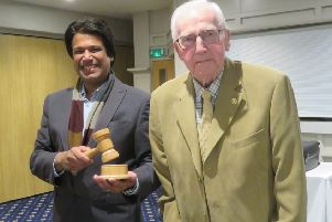 Bexhill Town Mayor Cllr Abul Azad with the new Rother District Council gavel presented by Rotarian Bill Heynes who hand turned the gavel and base. SUS-191203-114326001