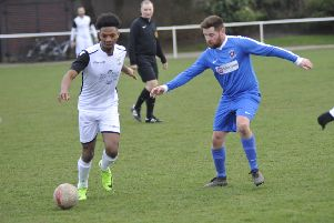 Joel Kalambayi on the ball during Bexhill United's 2-1 win at home to Oakwood on Saturday. Picture by Simon Newstead