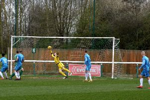 Paul White made this superb early save at Biggleswade Town last weekend but Kettering Town still slipped to a 1-0 defeat. Picture by Eden Palmer